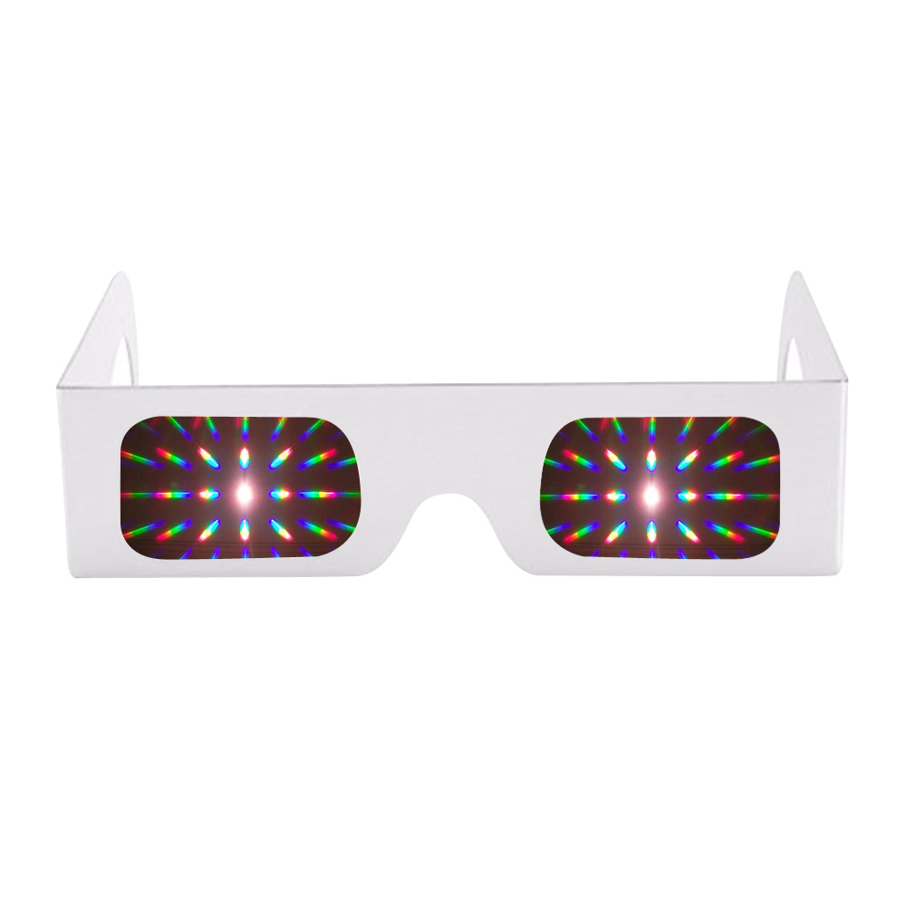 50pcs Pack New Year Holidays 13500 Lines/Spirals Light 3D Diffraction Sparklers Fireworks Rave Party Prism Funny Glasses