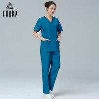 Women Men Medical Uniforms Nursing Scrubs Sets Clothes Hospital Short Sleeve Vcollar Coat Doctor Clothing Brush Hand Clothing