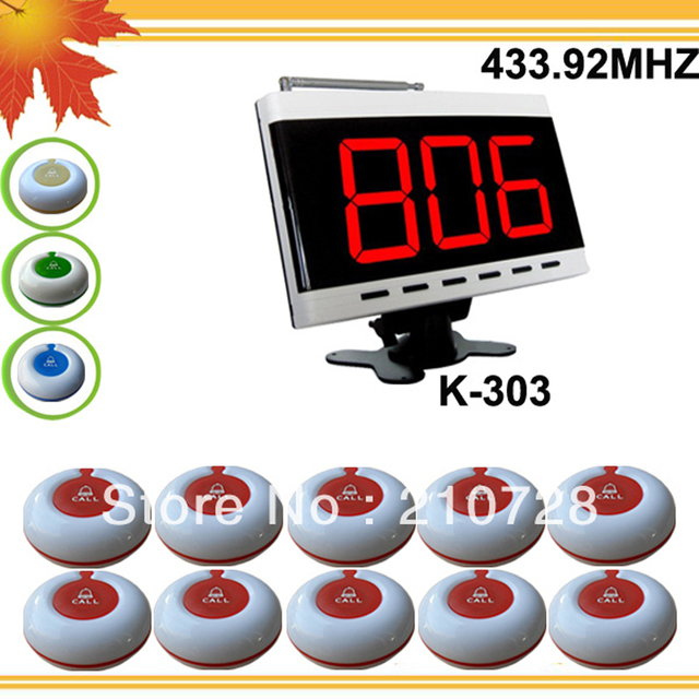 433.92mhz Coffee bar call paging system W 1 display panels and 10 100% waterproof buzzers from guest DHL free shipping free