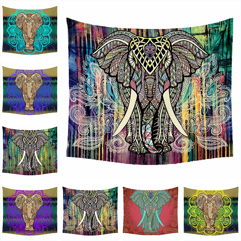 Слон гобелен Цветной печатных декоративные МАНДАЛА ГОБЕЛЕН индийский 150 см x 200 см богемный пляж Полотенца Скатерти Одеяло