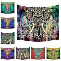 Elephant Tapestry Colored Printed Decorative Mandala Tapestry Indian 150cmx200cm Bohemian Beach Towel Table Cloth Blanket