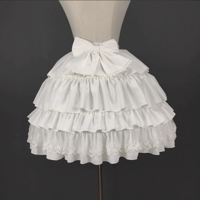 Ball Gown Underskirt Short Dress  Black And White Cosplay Petticoat Bones Lolita Petticoat Ballet  Lace EdageCrinoline 40 Cm