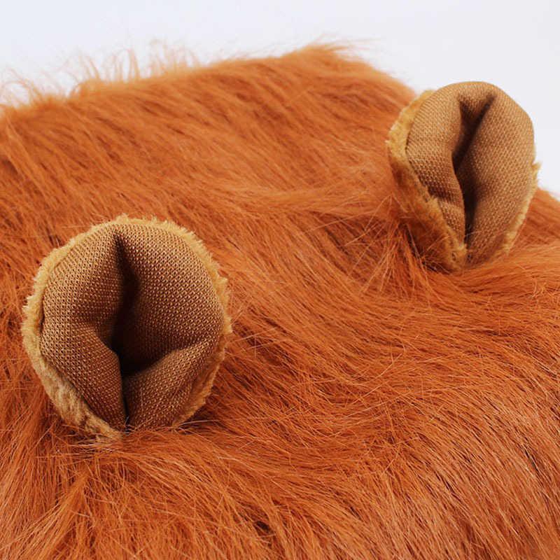Милый питомец Косплэй одежда преображение костюм Лев Мане зима теплый парик Cat большой собаки вечерние украшения с ушками Pet Одежда