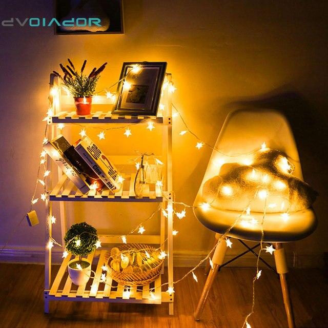 DVOLADOR Christmas Star holiday Lights  LED Curtain String Light 20LED 100LED LED Star String For Party Decoration Lights