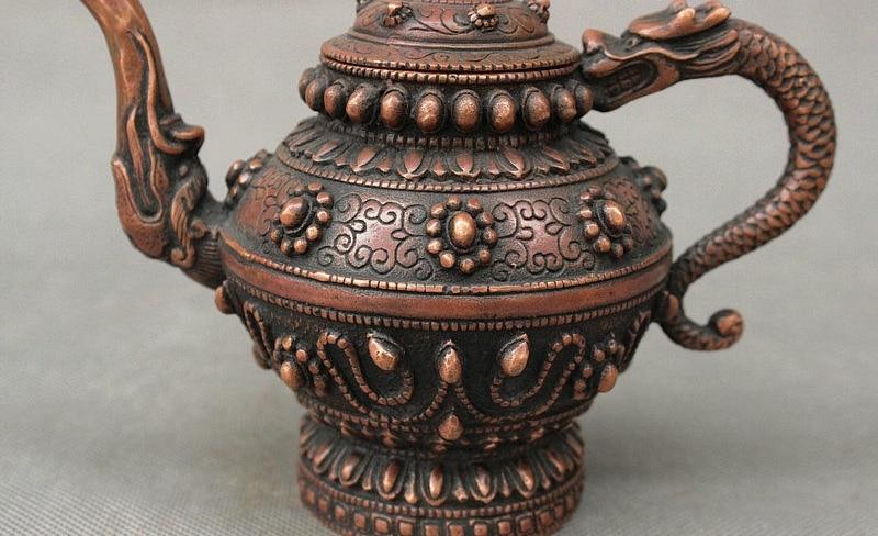 antique excellent old auspicious Zen statue dragon Buddha Elephant Pot teapot