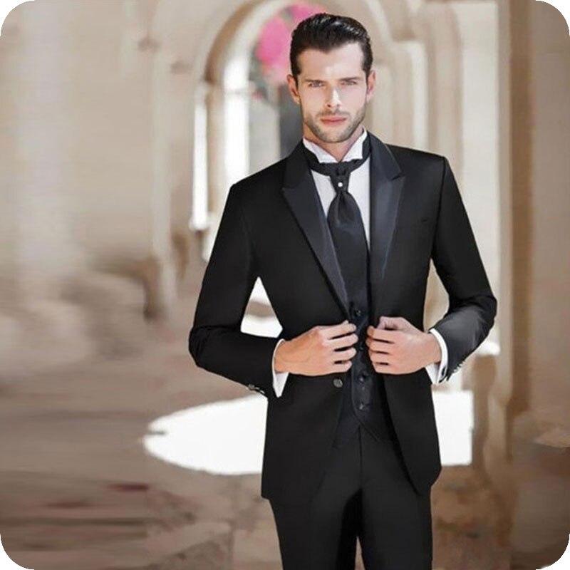 Italian Black Groom Tuxedos Men Wedding Suits Prom Wear 3Piece Coat Pants Vest Custom Costume Homme Slim Fit Terno Masculino
