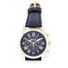 Really Cheap Fankris 2016 Women's Geneva Roman Numerals Faux Leather Analog Clock Hour Quartz Watch Black Color