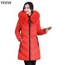 Fashion Jackets woman winter coat 2018 New casaco feminino Long Slim Large Collar Plus size 6XL Down Feather Cotton Jacket