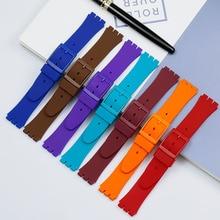 цена Multicolor Men's Watch Strap for Swatch Strap Buckle for SWATCH Silicone Rubber Strap 17mm 19mm 20mm Women's Watch Accessories онлайн в 2017 году