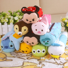 NEW 20CM Tsum Tsum Plush Pencil Case Pen Bag Plush Doll Minnie Mickey Stitch Donald Duck Dumbo  Stuffed Toys for Gifts