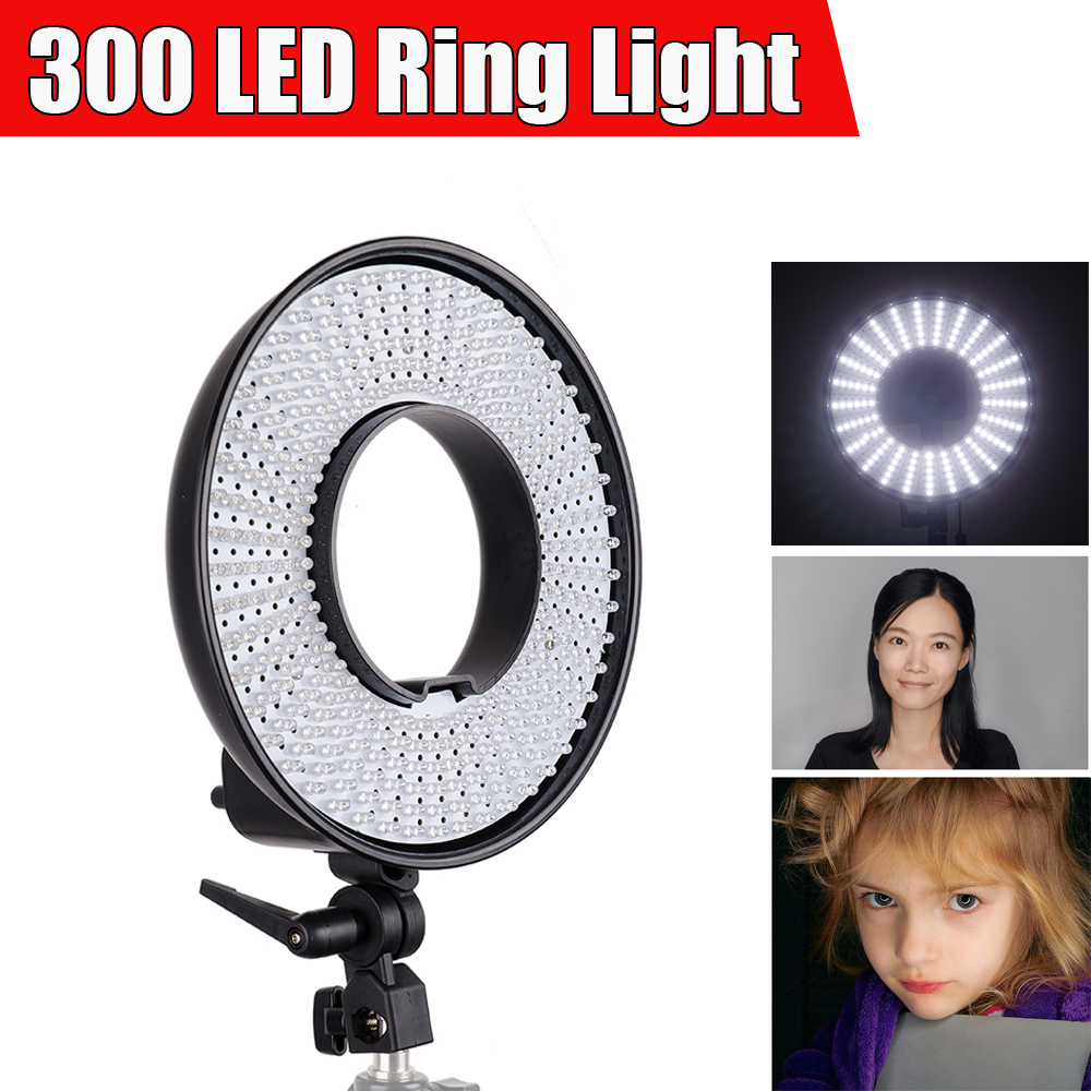 Falcon EYES DVR 300DVC LED Video Ring Light 3000K 7000K Dimmable w Diffuser Wonderful Effect for