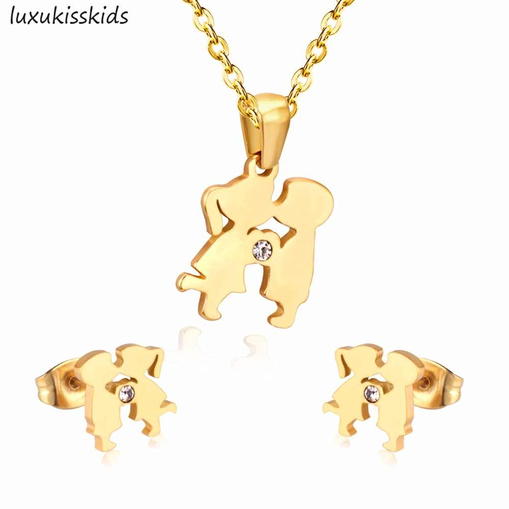 LUXUKISSKIDS Stainless Steel Jewelry Sets KISS Lovely Boy and Girl Necklace Earrings Jewelry Sets