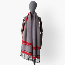 striped wool scarves with tassel women winter thick warm acrylic blanket scarf lady cashmere-like shawl wraps