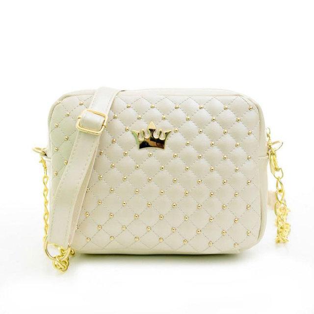 2017 Women Bag Fashion Women Messenger Bags Rivet Chain Shoulder Bag High Quality PU Leather Crossbody N0310