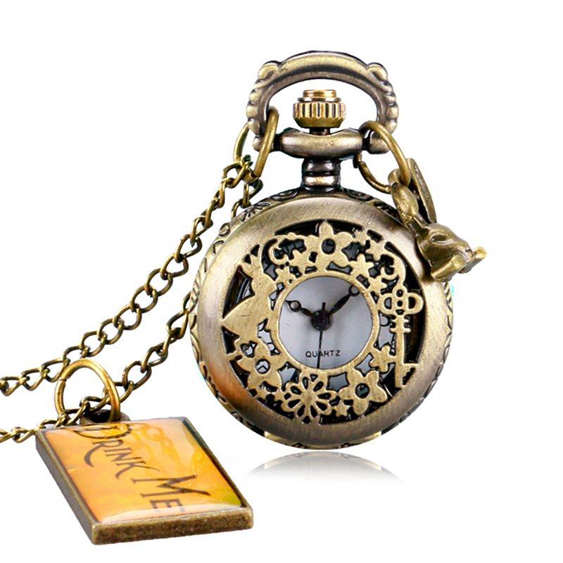 Alice in Wonderland Mad Hatter Rabbit Drink Me Tag Quartz Pocket Watch Dark Brown Glass Necklace Pendant Gifts for Women Girls 2019 2020 2021 2022 (4)