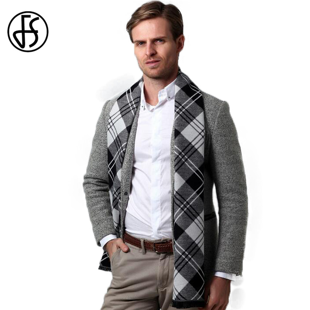 e261b7493 FS Luxury Brand Soft Wool Scarf Black White Plaid Men Winter Style Cashmere  Knitted Male Designer Long Warm Scarves Warp Shawl