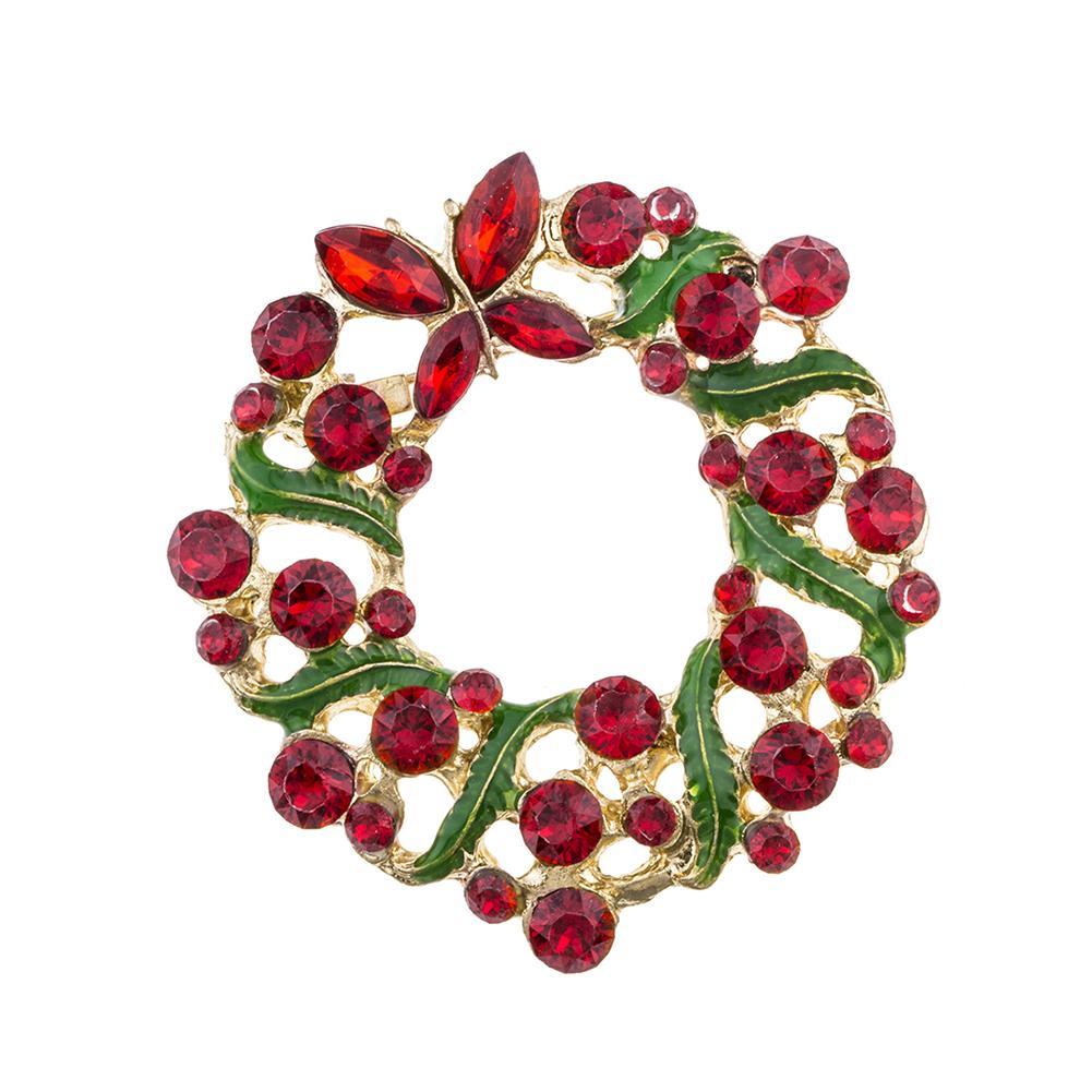 1PC Fashion Women Jewelry Lapel Badge Christmas Hollow Garland Rhinestone Brooch Pin
