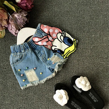 2017 Baby girls shorts jeans duck design summer children's shorts kids denim shorts for girls pants toddler girl clothing