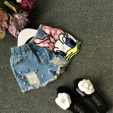 2018 Baby girls shorts jeans duck design summer children s shorts kids denim shorts for girls