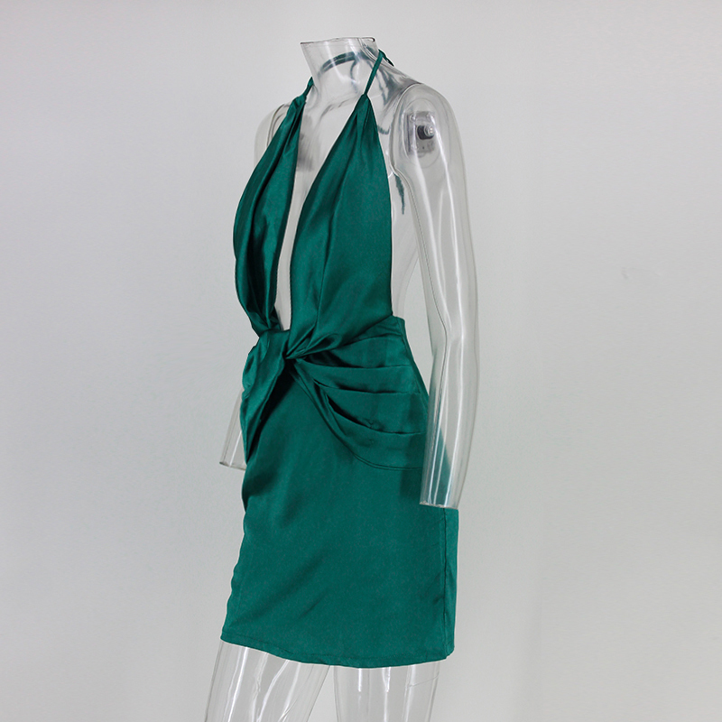 silky plunge wrap shift women dress sexy backless asymmetric fold ... 4b0441eae