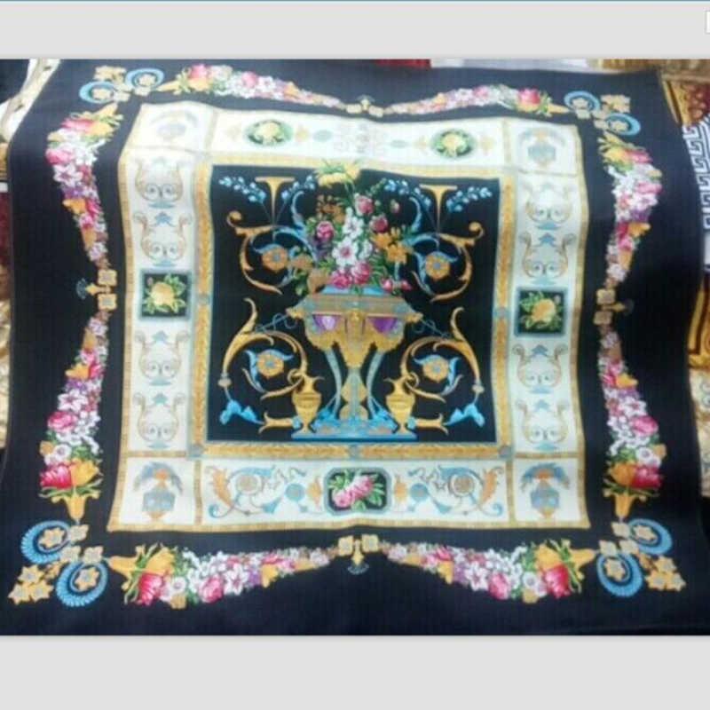Высококачественный дизайнерский Новый 2019 Роскошный Королевский Печатный Цветок бархатная синяя ткань для изготовления обивка на диван стул Материал чехла подушки