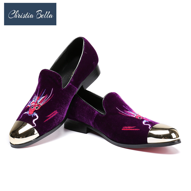 Christia Bella Embroidered Purple Dragon Design Men Velvet Shoes Fashion Men Smoking Slippers Male Wedding and Party LoafersChristia Bella Embroidered Purple Dragon Design Men Velvet Shoes Fashion Men Smoking Slippers Male Wedding and Party Loafers