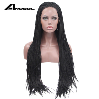 Anogol Long High Temperature Fiber 1B Black Braided Synthetic Lace Front Wig for African American