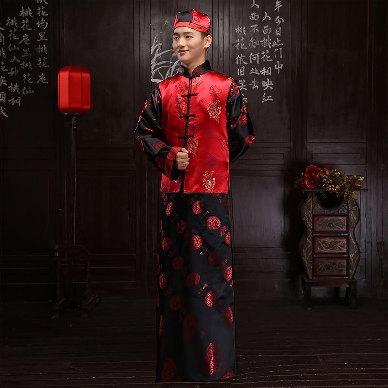US $67.7 7% OFF|Chinese stijl tonen mannen pak bruidegom pratensis lange mouwen tang pak lange gown jas trouwjurk avond Gewaad gown dragon in Sets van