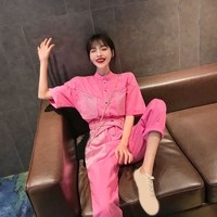 Casual Women Cargo Jeans Jumpsuit Sashes Pocket Stand Collar Denim Jumpsuit Loose Pink Black Half Sleeve Long Rompers Overalls