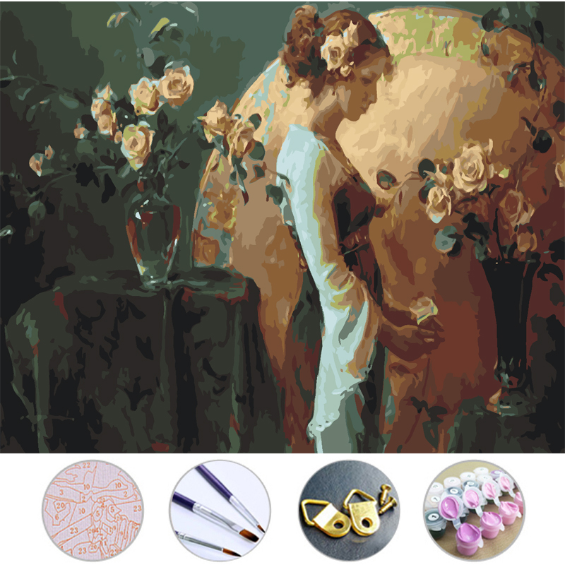 Beauty and roses Diy Oil Painting Frameless picture on wall acrylic painting by numbers on the canvas modular paintings decor