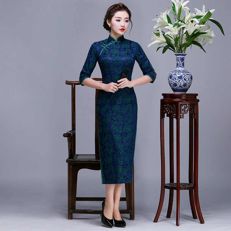 <font><b>Sexy</b></font> 2019 Spring Chinese Womens Cheongsam <font><b>Dress</b></font> New <font><b>Lady</b></font> Qipao Fashion Slim Party <font><b>Dresses</b></font> Button Flowers Vestido M L XL XXL image