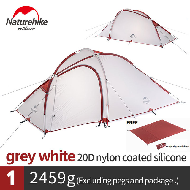 Naturehike Factory Hiby Family Tent 20D Silicone Fabric Waterproof Double-Layer 3 Person 4 Season camping tent one room one hall