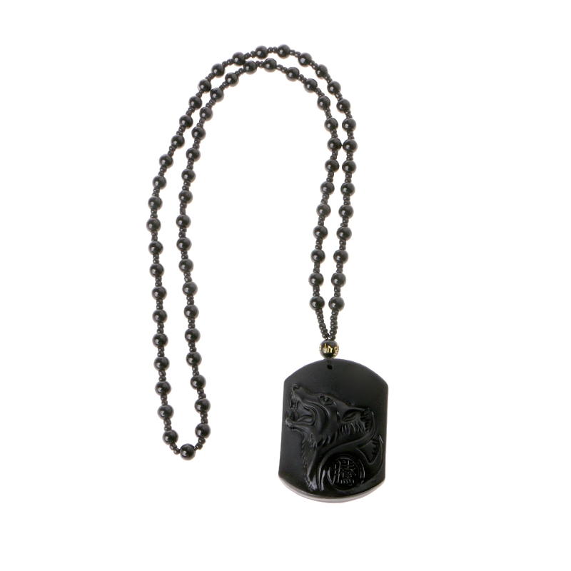 e88db638d2648 US $2.08 16% OFF|Drop Shipping Black Obsidian Wolf Necklace Sculpture  Wolf's Head Amulet Pendant With Obsidian Chain Luck Blessing Pendants  Jewel-in ...