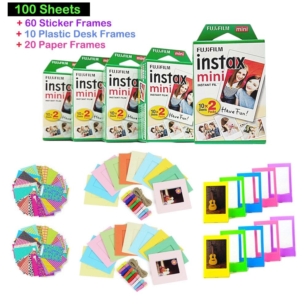 Original Fujifilm 10 Sheets Instax Mini Stripe Instant Film Photo Wide Monochrome Single 20 Lembar 5 Twin Packs 100 Total Pictures 60
