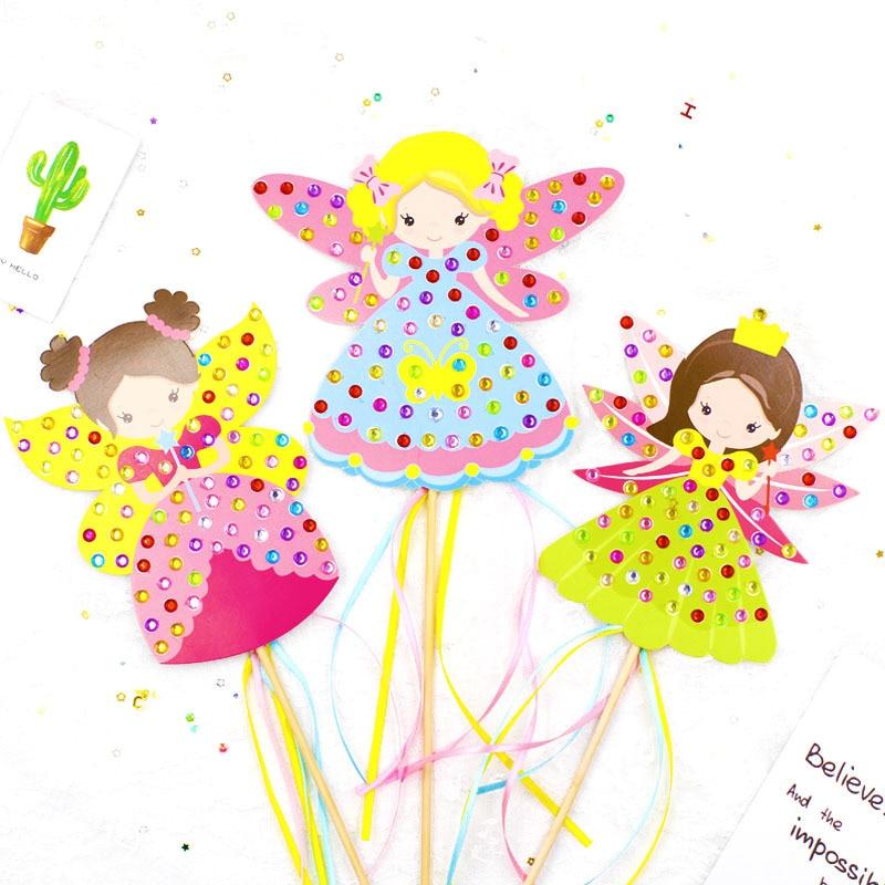 Children DIY Fairy Stick Handmade Princess Magic Stick Toy Handmade Materials Package Sticker Girl Gift DIY Craft Toys(China)