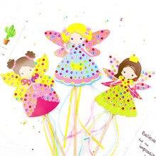 الأطفال DIY الجنية عصا اليدوية أميرة السحر عصا لعبة اليدوية المواد حزمة ملصقا فتاة هدية DIY حرفة اللعب