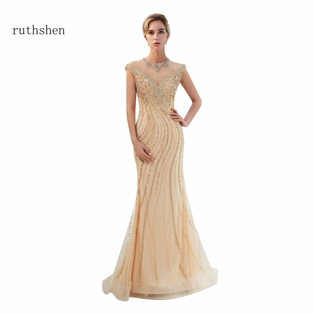 ruthshen 2018 Sexy Scoop Neck   Prom     Dresses   New Arrivals Short Cap Sleeves Beads Mermaid Party Evening Gowns Gold Formal   Dresses