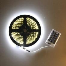 Bande lumineuse LED non étanche 3AA LED à piles, 3528, 60 diodes/M, 50CM, 1M 2M 3M 4M 5M, blanc chaleureux, blanc froid, avec boîte de piles