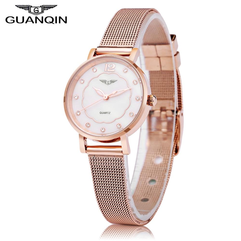 GUANQIN Female Quartz Watch Petal Artificial Diamond Dial Wristwatch for Women