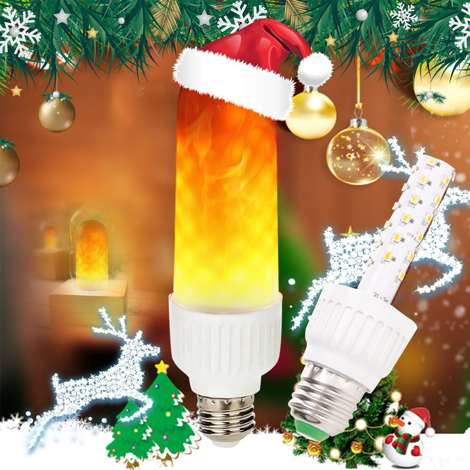 LED Flame Effect Fire Light Bulb E26 E27 B22 SMD2835 Flickering Decorative Flame Lamp Three Modes AC85-265V 6W Decor Lamp
