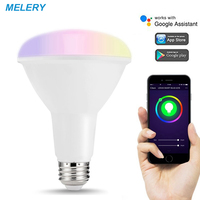 WiFi Smart LED Bulbs E27 BR30 Color Changing Light Lamp 10W 80W Equivalent 1000 Lumens Work with Alexa,IFFT,Google Assistant