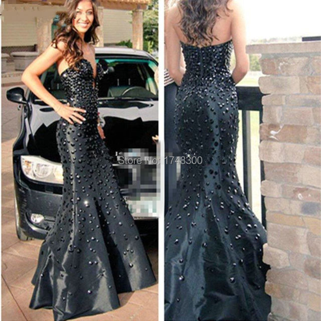 In Fashion Y Long Mermaid Whole Black Crystal Prom Dress Glamorous Satin Evening Gown Party Dresses
