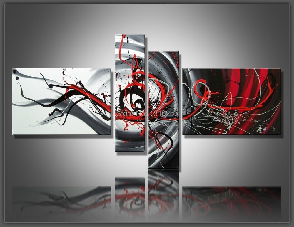 4 pcs set large canvas art abstract oil painting black for Art et decoration revue