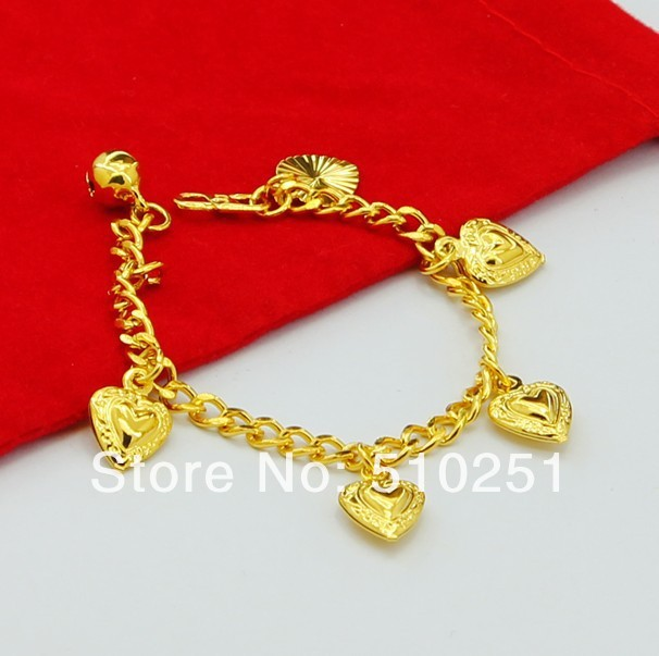 YGP B 27 free shipping 24k yellow gold plated heart charm baby