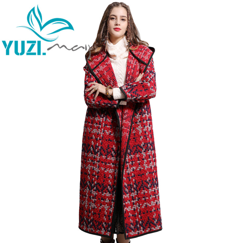 Coat Women 2018 Yuzi may Boho New Winter Wool Coats X Long Hooded Loose Open Stitch