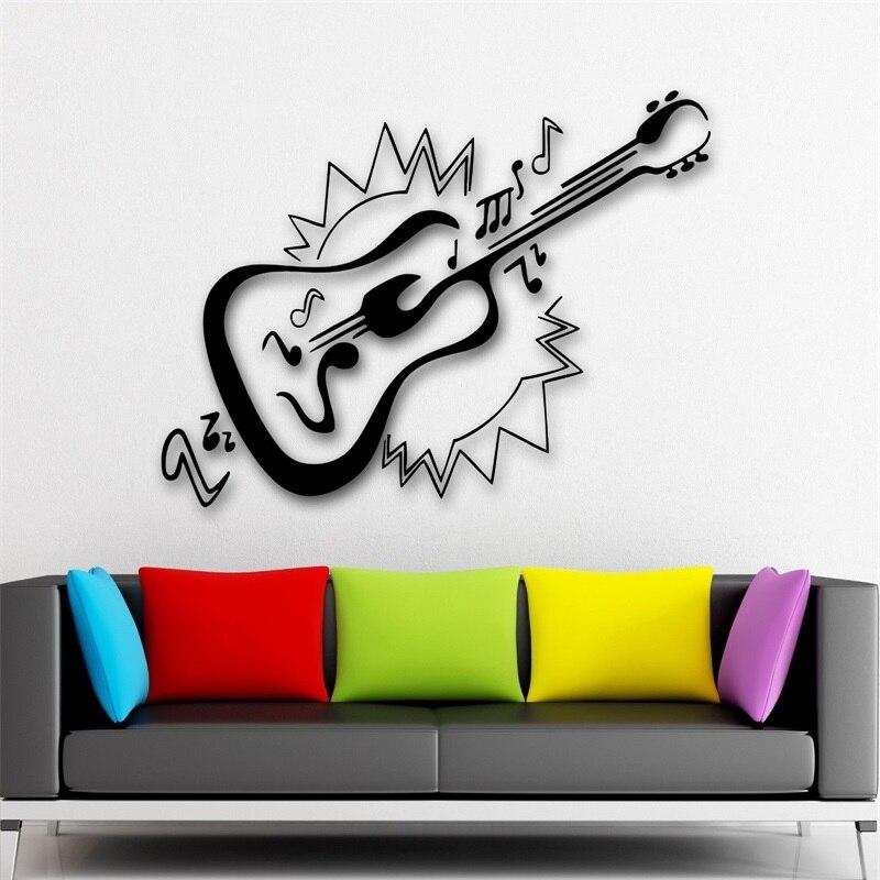 Sticker mural vinyle décalcomanie Instrument de musique guitare musique Rock Pop son