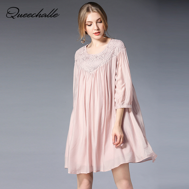 Pink Black Color Oversized Loose Dress For Women Spring Summer Mini Lace Collar Half Sleeve