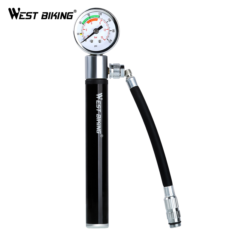 WEST BIKING Black Portable Bike Air Pump Mini Pressure Gauge Presta Schrader Pump for Bicycle Ball Tire Inflator Cycling Pumps