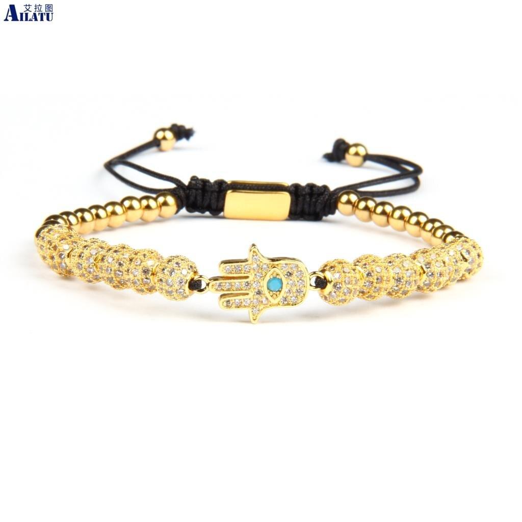 Ailatu Luxus Klar Cz Gold Hamsa Flechten Armband Großhandel 6mm Cz Ball Perlen Edelstahl Schmuck Top Qualität-in Strang-Armbänder aus Schmuck und Accessoires bei  Gruppe 1