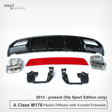 Mercedes A Class W176 A45 Look ABS Diffuser & Stainless Steel 4-Outlet Exhaust Tips For Benz W176 Sporty Edition Only 2013 – NOW